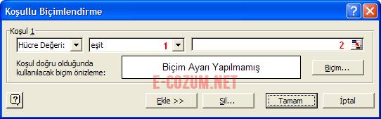 Excel koşullu biçimlendirme