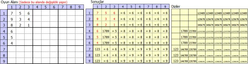 Excel ile sudoku oyunu
