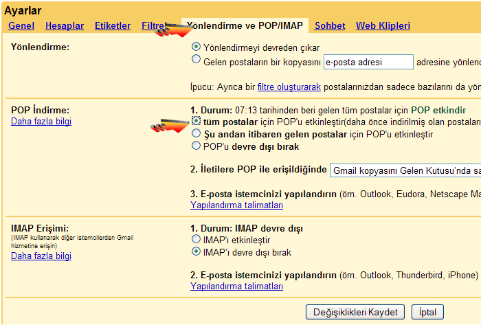 GMail - Outlook Express Ayarları - Pop3