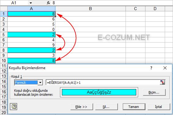 Excel tekrar edenleri bulma