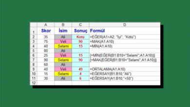 Excel sütun işlemleri
