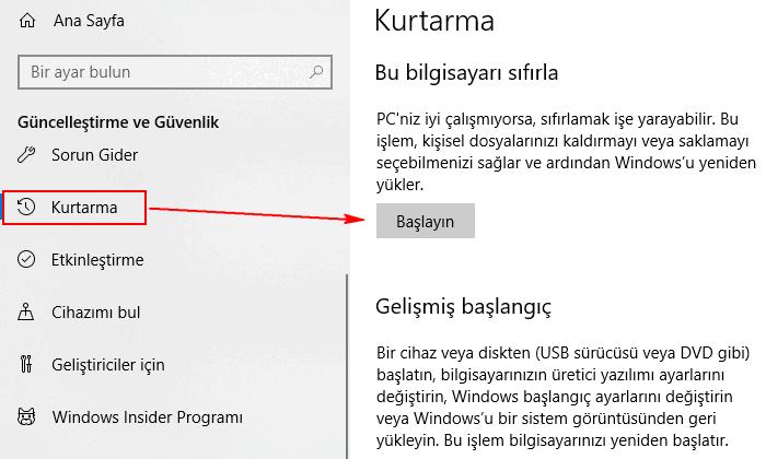 Bilgisayarı sıfırlama