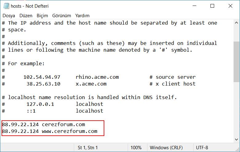 DNS yönlendirmesi sorunu için hosts dosyası düzenleme